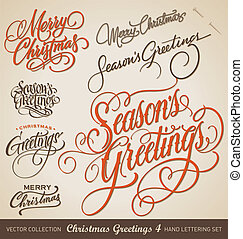 CHRISTMAS hand lettering set vector - Set of 7 hand-lettered...