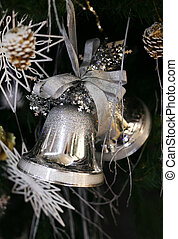 Christmas handbells on a dark background