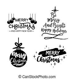 Christmas handmade ink brush lettering quote set - Merry...