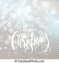 Christmas handwritten lettering text on blurred background with lights. Transparence effect. Vector illustration EPS10