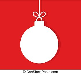 Christmas hanging bauble ornament on red background.