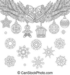 Christmas hanging decorations - Christmas coloring page with...