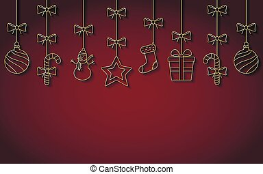 Christmas hanging golden ornaments with shadow. Vector background