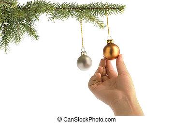 christmas hanging on balls - christmas tree and children...