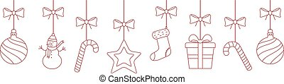 Christmas hanging ornaments background