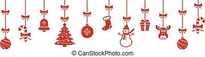 Christmas hanging ornaments background. Vector illustration.