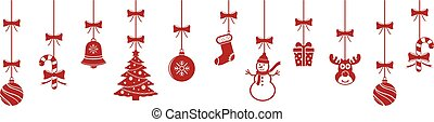 Christmas hanging red ornaments isolated background