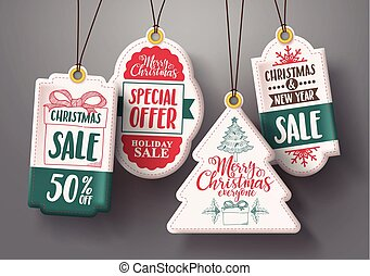 Christmas hanging sale tags vector set in white color with different shapes