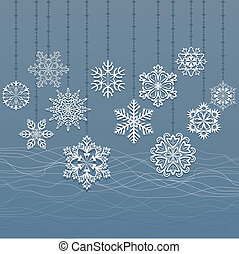 Christmas hanging snowflakes blue vector background.