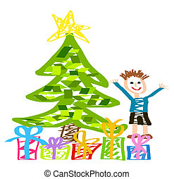 Christmas drawing with happy kid, Christmas tree and present boxes.