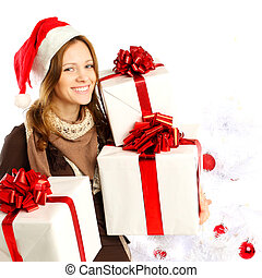 Christmas, happy woman with gifts