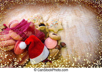 Christmas hat and cookies in red sack. - Various Christmas...