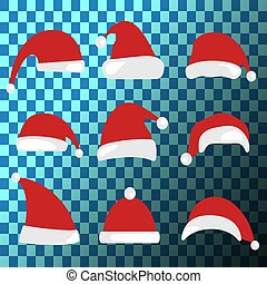 Christmas hat set. Santa Claus hats collection.