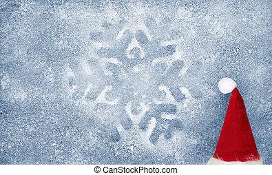 Christmas hat, snowflake, fiber fab - Christmas hat,...