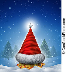 Christmas Hat Tree - Christmas hat tree concept with a Santa...