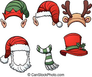 Christmas hats and scarf. Vector clip art illustration with ...