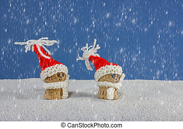 Christmas-hats and snow - puppets with Christmas-hats and...