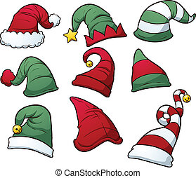 Christmas hats clip art. Vector cartoon illustration with...