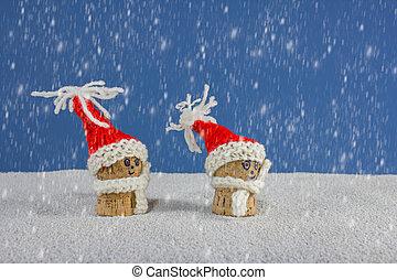 christmas-hats, i, śnieg