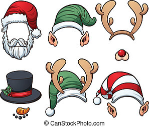Christmas hats. Vector clip art illustration with simple...