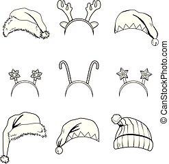 Christmas Headbands Hats Line Art