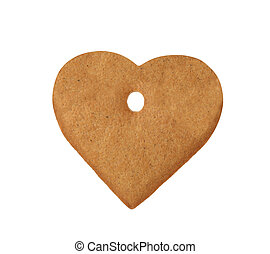 christmas heart cookie isolated on a white background