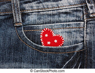 Christmas heart in jeans pocket