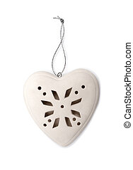 Christmas heart of porcelain on a white background