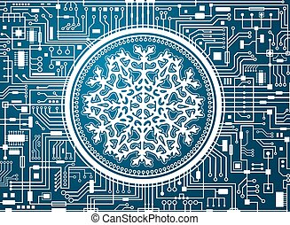Blue Christmas chipset background with huge white snowflake in the center. Futuristic holiday technology concept banner. Vector hi-tech new-year horizontal illustration.