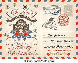 Christmas holiday airmail postcard, greeting card - Merry...