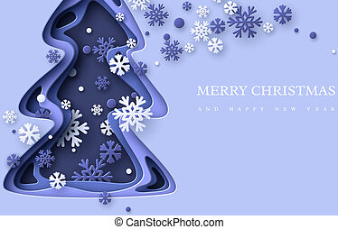 Christmas holiday background. Paper cut Christmas tree with snowflakes. 3d layered effect in blue colors, vector illustration.
