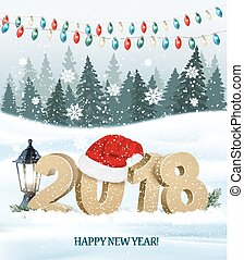 Christmas holiday background with 2018 and red Santa hat. Vector.