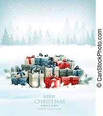 Christmas holiday background with colorful gift boxes and landscape. Vector.