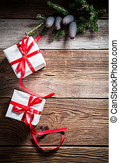 Christmas holiday background with copy space and gifts