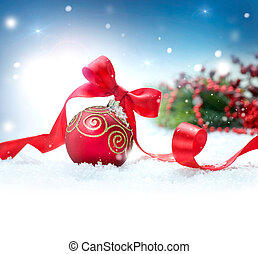 Christmas Holiday Background with Decorations and Snowflakes