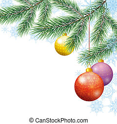 Christmas holiday background with fir branches, balls and...
