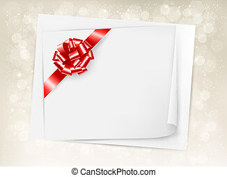 Christmas holiday background with gift bow and ribbon. Vector