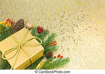 christmas holiday background with gift box