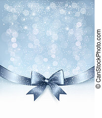 Christmas Holiday background with gift glossy bow and...