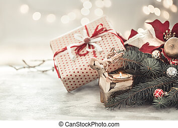 Christmas holiday background with gift in box .