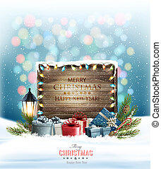 Christmas holiday background with presents and wooden sign. Vector.