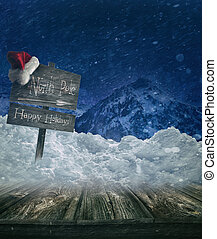 Christmas holiday background with sign post