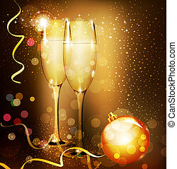 Christmas holiday background with two glasses of champagne