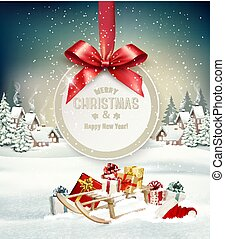 Christmas holiday background with presents on a sleigh and gift card with red bow. Vector illustration