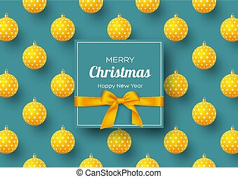 Christmas holiday banner. Realistic 3d balls with geometric pattern and label with silk bow. New Year background, vector illustration.