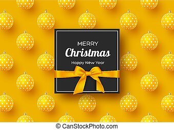Christmas holiday banner. Realistic 3d balls with geometric pattern and label with silk bow. Yellow New Year background, vector illustration.