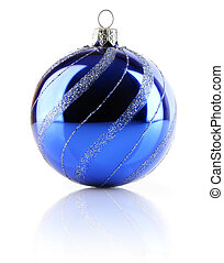 Christmas holiday blue ball isolated on white