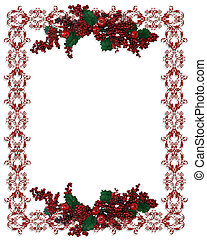 Christmas Holiday Border holly berries