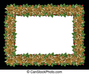 Christmas holiday border holly gold poinsettias