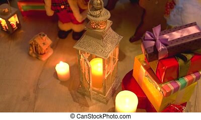 Christmas holiday candles and gifts.